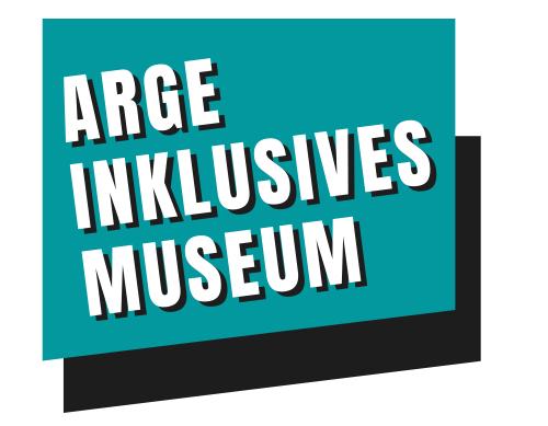 Logo der ARGE Inklusives Museum, Türkis und Schwarzer Kästchen mit weisser Schrift