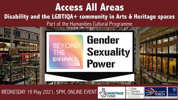 """Veranstaltungs Information, Text auf ein Bild von dem Pitt Rivers Ausstellung, Text liest """"Access all Areas. Gender, Sexuality and Power"""""""